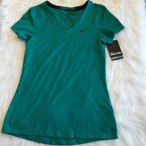 Nike Pro M T-shirt V Neck Short Sleeve Teal Green